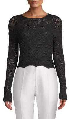 Ronny Kobo Avia Crochet Cropped Knit Top