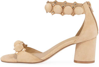 Neiman Marcus Lila Studded Suede Ankle-Strap Sandals, Camel