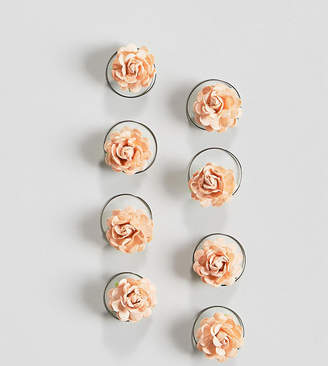Asos DESIGN Pack Of 8 Peach Floral Hair Spinners