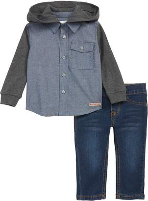 Hudson Thermal Chambray Hooded Shirt & Jeans Set