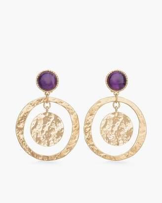Purple Clip-On Stone Hoop Earrings