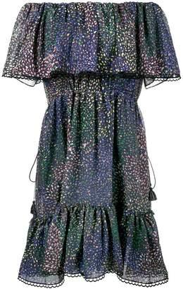 Chloé lurex firework print off-shoulder dress