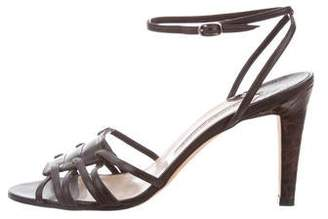 Manolo Blahnik Alligator Mid-Heel Sandals