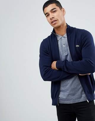 Lacoste zip through sweater in navy