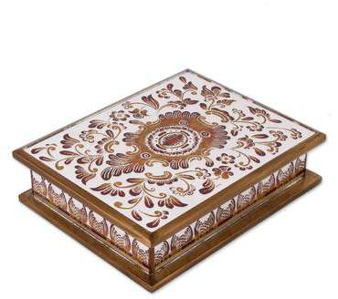 Floral Luxury Reverse Painted Glass Decorative Box with Floral Motifs