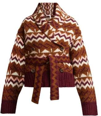 See by Chloe Belted Fair Isle Cardigan - Womens - Brown Multi