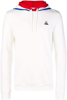 Le Coq Sportif striped detail logo hoodie