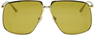Gucci Gold and Silver Oversized Square Sunglasses