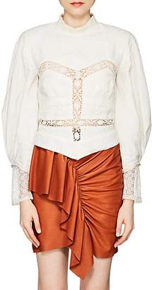 Isabel Marant Women's Lyneth Crocheted-Inset Linen Blouse - White