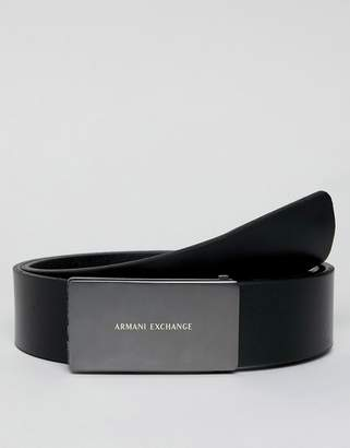 Armani Exchange leather plaque buckle belt in black