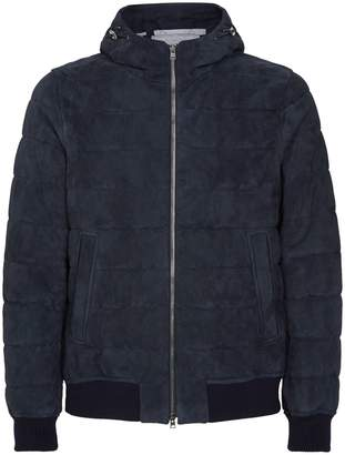 Herno Spa Suede Hooded Bomber Jacket