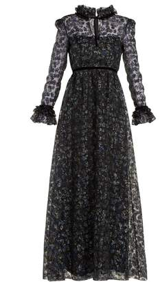 Goat Giovanna Floral Print Organza Gown - Womens - Black Multi