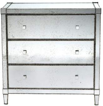 Currey and Company Monarch Three Drawer Chest, Painted Silver Viejo