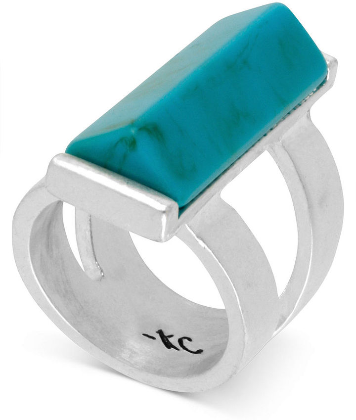 Kenneth Cole New York Ring, Silver-Tone Turquoise Stone Rectangle Ring