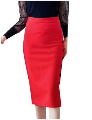 FXLM Women Solid Color Plus-Size Split Mid Long Bodycon Bandage Dress 3XL
