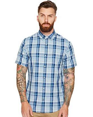 Original Penguin Men's Short Sleeve Indigo End Plaid Shirt