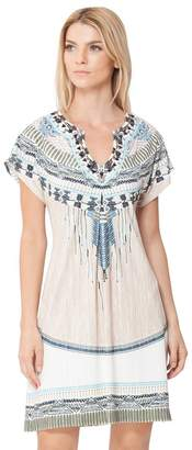 Hale Bob Eva Pleated Jersey Dress Beaded