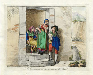 One Kings Lane Vintage Romantic Encounter in Tivoli - 1816 - Prints with a Past