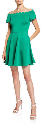 Ted Baker Bardot Scallop Off-the-Shoulder Crepe Skater Dress