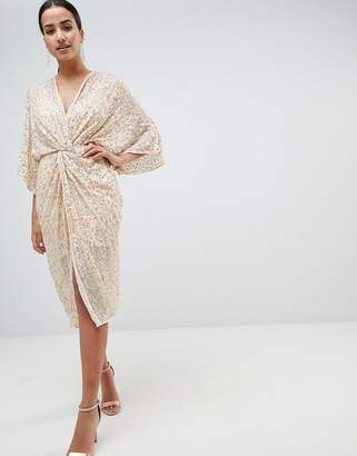 Asos Design Midi Plunge Embellished Kimono Dress