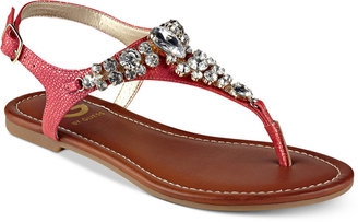 G by GUESS Londeen Embellished Flat Sandals $39 thestylecure.com
