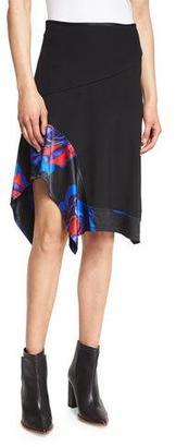 DKNY Floral-Trim A-Line Skirt, Black $358 thestylecure.com