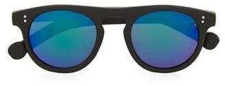 Topman Mens Black Flat Top Rounded Sunglasses