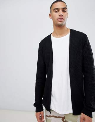 Asos Design DESIGN knitted lightweight cable cardigan in black