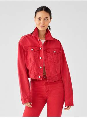 DL1961 Annie Cropped Oversized Jacket | Outlaw Red