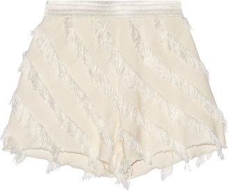 Sandro Pandora frayed silk-trimmed twill shorts $275 thestylecure.com
