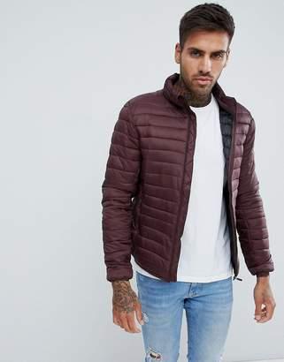 Pull&Bear Puffer Jacket In burgundy