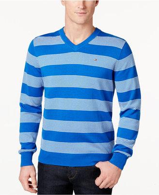 Tommy Hilfiger Men's Carrington Striped V-Neck Sweater $49.98 thestylecure.com