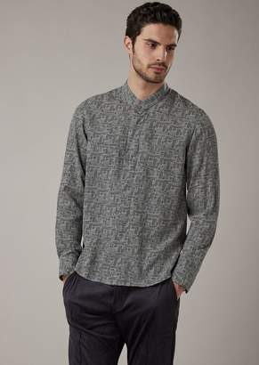 Giorgio Armani Regular-Fit Shirt In Lyocell With Exclusive Geometric Corrosion Print