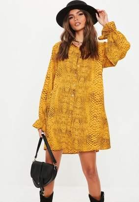 Missguided Yellow Oversized Snake Print Shirt Dress