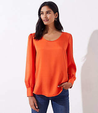 LOFT Scoop Neck Puff Sleeve Blouse