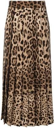 Dolce & Gabbana leopard print pleated maxi skirt