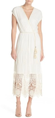 Women's Fraiche By J Embroidered Mesh & Cotton Midi Dress $115 thestylecure.com