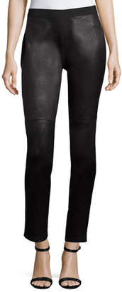 Eileen Fisher Ponte Leather-Blocked Leggings, Petite