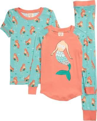 Munki Munki Mermaids Fitted Three-Piece Pajamas