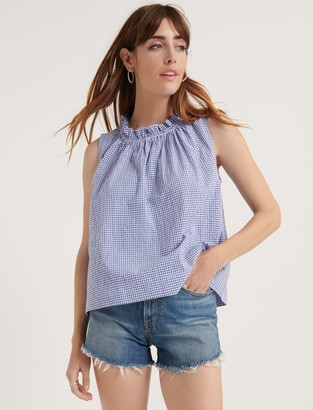 Lucky Brand Pomegranate Gingham Ruffle Neck Blouse