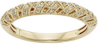 JCPenney MODERN BRIDE 1/4 CT. T.W. Certified Diamond 14K Yellow Gold Crossover Wedding Band