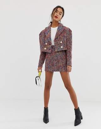 Asos Design DESIGN pop boucle mini suit skirt