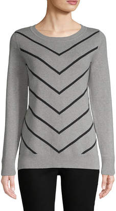 Liz Claiborne Long Sleeve Chevron Pullover Sweater - Tall