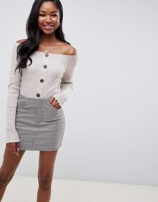 Asos DESIGN button up off shoulder sweater