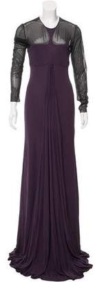 Ralph Rucci Sheer-Paneled Pleated Gown