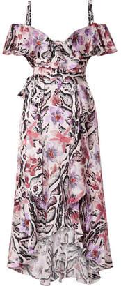 Temperley London Ruffled Printed Hammered Silk-satin Midi Dress