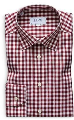 Eton Brushed Gingham Regular Fit Dress Shirt