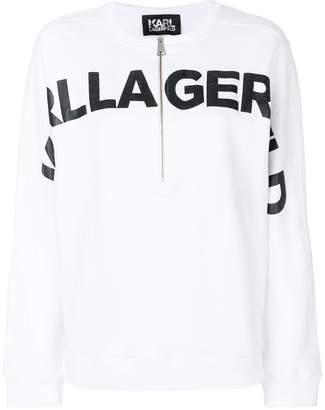 Karl Lagerfeld logo print zip hoodie