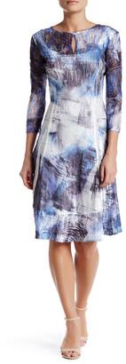 KOMAROV Tie-Dye Keyhole 3/4 Sleeve Dress (Petite) $278 thestylecure.com