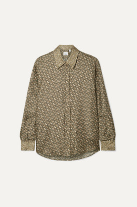 Burberry Printed Silk-satin Twill Shirt - Army green